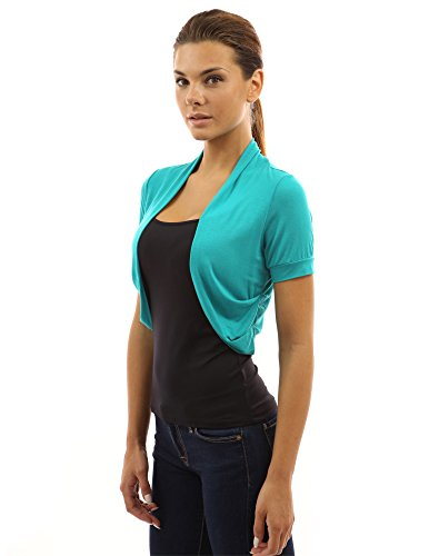 PattyBoutik Women Pleated Sides Bolero Shrug (Turquoise -