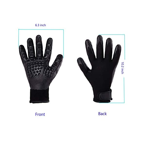 Pet Grooming Massage Gloves with Enhanced Five Finger Design,Gentle Washing DeShedding Brush Tool for Small,Medium,Large Dogs and Cats with Long or Short Hair (1 Pair(Black)) 4