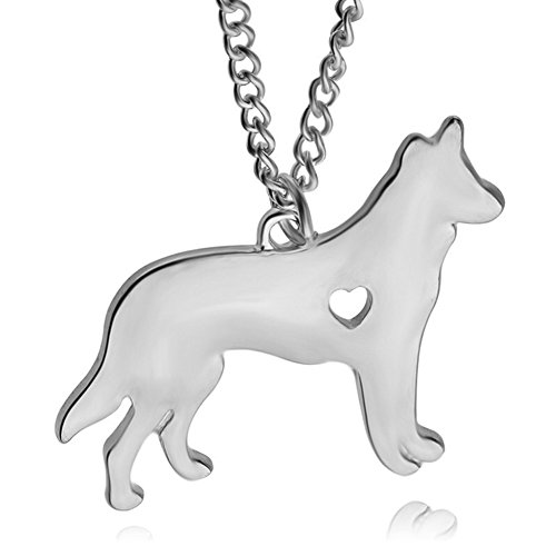 - AILUOR German Shepherd Dog Necklace, I Love My Dog Love Heart Dog Pendant Necklace Golden Retriever Greyhound German Shepherd Dog Memorial Gift Hunters Lovers (Silver)