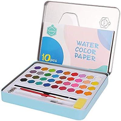 Kit de pintura acuarela de 36 colores, estuche de acuarela con pincel de agua, juego de 6 paleta de acuarela profesional portátil para principiantes aficionados, color azul: Amazon.es: Oficina y papelería