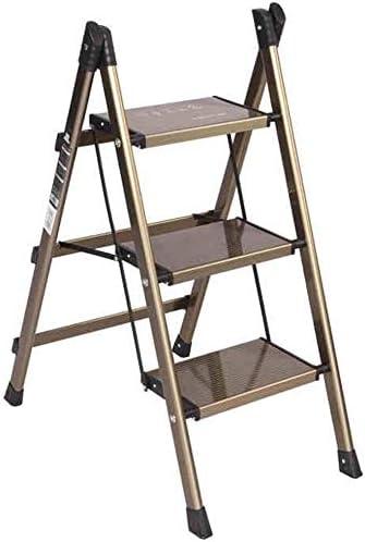 Taburete Escalera Cocina Escalera del Taburete for los Ancianos niños, Brown 3 Taburete de Paso Plegable Pequeño Peso Ligero de Aluminio con una Amplia Paso peldaños: Amazon.es: Hogar