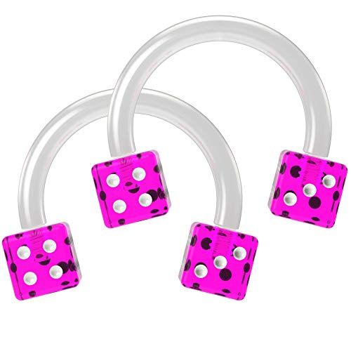Bling Unique 16g 5/16 Horseshoe Earrings Bioflex Flexible Septum Cartilage Hoop Lip Tragus Eyebrow Helix Acrylic Dice Circular Barbell (Purple) 16 Gauge 8mm x 2 Set
