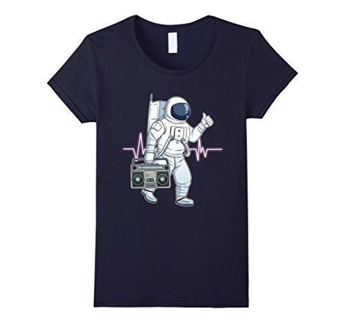 Womens Retro Astronaut T-Shirt Space Boombox Graphic Shirt Hip Hop Medium Navy