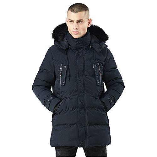 Scuro Scuro Scuro Cappotto da Blu Uomo Cappuccio Parka Casual Jackets Jackets Jackets Slim Lungo Caldo Vento Giacca a Uomo Giacca Inverno TOVKC Blue Spessore Solido Cappotto w70q4Ugn