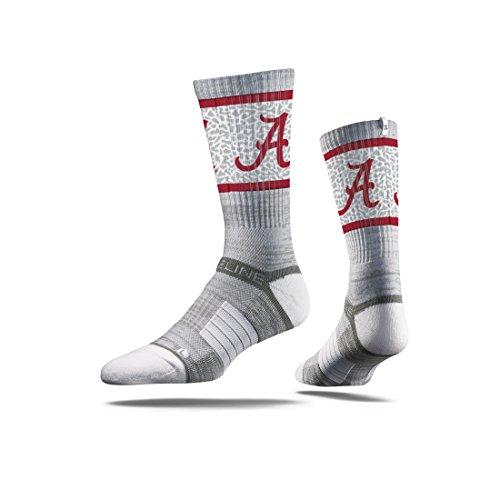 Strideline NCAA Alabama Crimson Tide Premium Athletic Crew Socks, Grey, One Size
