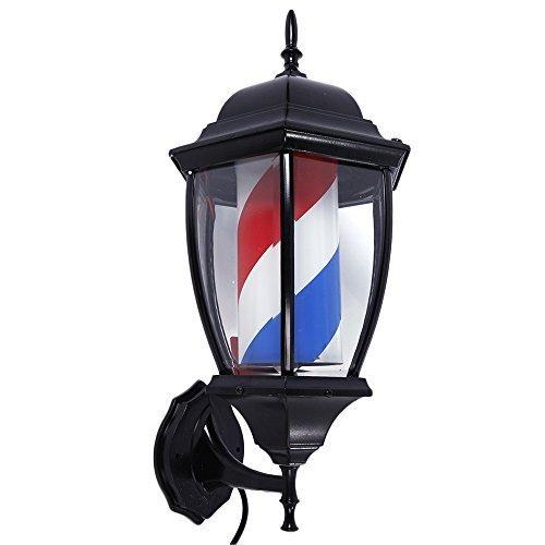 Mefeir 20 inch Barber Pole LED Light Porch Style,Hair Salon Barber Shop Open Sign,Rotating Red White Blue Spinning LED Strips,IP44 Waterproof - Light Barber Pole