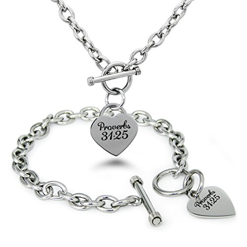 Stainless Steel Proverbs 31:25 Heart Charm, Bracelet & Necklace Set