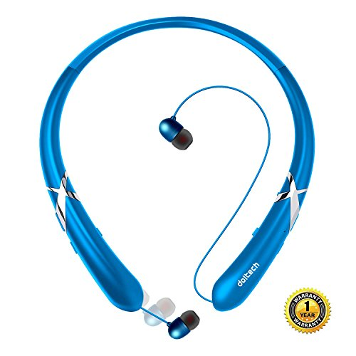 [Upgraded Version] Bluetooth Headphones DolTech Retractable Bluetooth Headset Neckband Wireless Headphones Stereo Earbuds Mic Blue (CVC 6.0 Noise Cancellation Vibration Prompt)