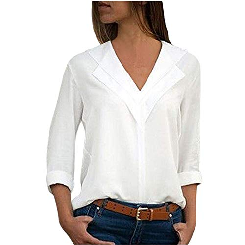 LISTHA V Neck Chiffon Blouse Women T-Shirt Office Ladies Plain Roll Sleeve Tops ()