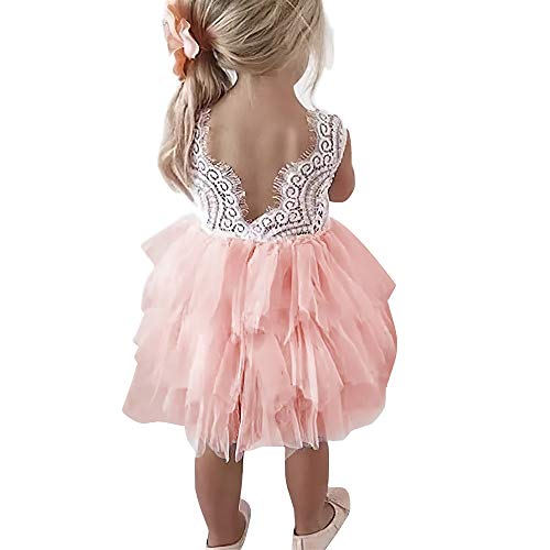 Toddler Girls Tutu Dress Lace top Backless A-line Tulle Flower Girl Dress(G001,Pink,130)]()