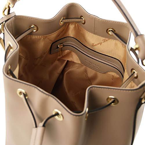 Piel Topo Marrón En Vittoria Brandy Leather Bolso Secchiello Tuscany Oscuro 8FwXqAO