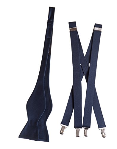 Men's Matching Self Tie Bow Tie and Suspender Sets, MANY COLORS (Navy ()