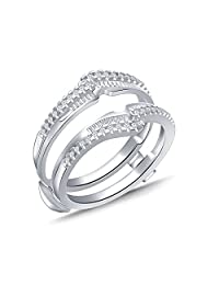 0.38 Ct Round & Baguette Diamond Bypass Knot Chevron Style Enhancer Ring Guard In 10k White Gold (IJ/I2I3)