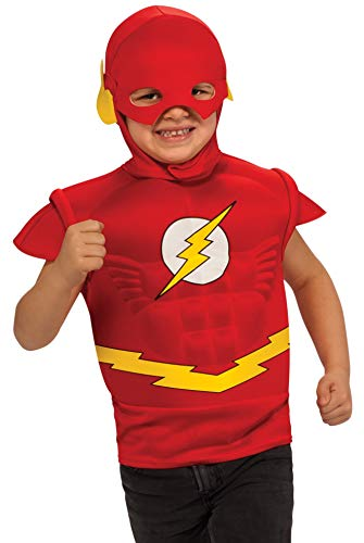 Flash Muscle Chest Costume Shirt with Cape and Headpiece -