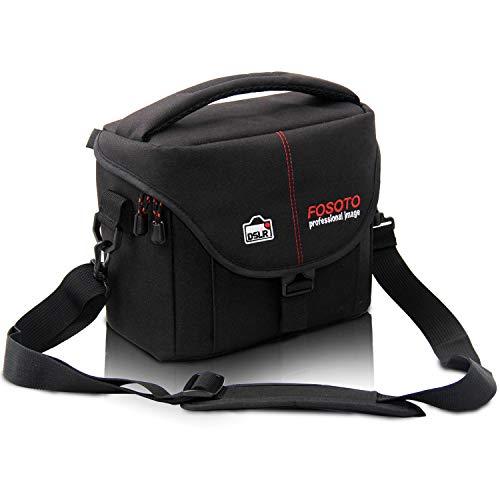 FOSOTO DSLR Camera Case Bag Compatible for Nikon D3400 D5500 D5600 D7200 D810 D750 D610 D60,Canon EOS T3 T4i T5i T6 T7 T7i SL1,Fuji X-T3 and More (Waterproof Camera Case Nikon D300)