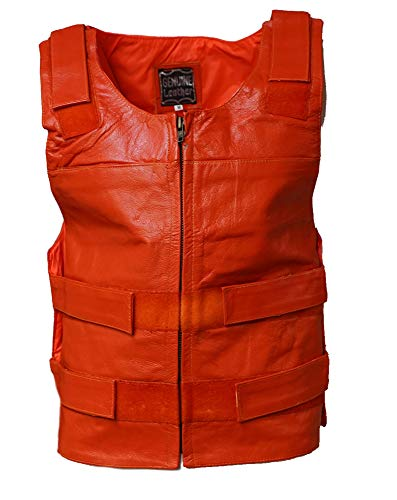 IKleather Mens Bullet Proof style Leather Motorcycle Vest for bikers Club Tactical Vest (XL, Orange) ()