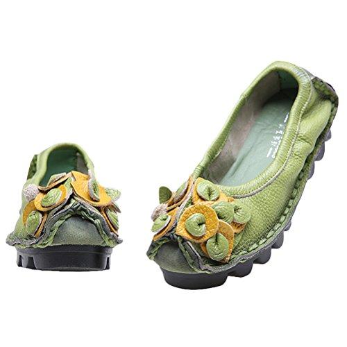 Cuero Verano Verde Mano Mujeres Zapatos Stile Flores Primavera 4 A Vintage Hecho Vogstyle F8Ofqxw