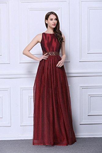 Beauty-Emily Pailletten Plissee Ohne Arm O-Ansatz A-Linie Tanks Abendkleider Wein Rot E0G7TD