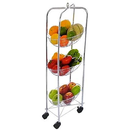 FLAF-Carrito auxiliar para verduras Carro de cocina, redondo, metal cromado-Organizador