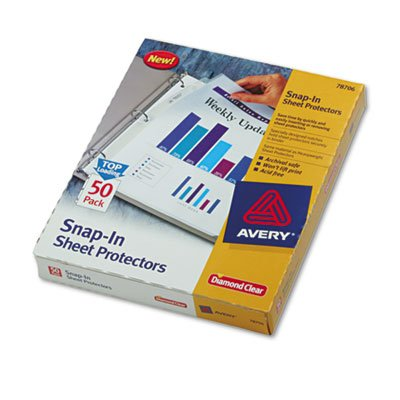 (Avery Products - Avery - Special-Use Snap-In Sheet Protectors, Letter, Diamond Clear, 50/Box - Sold As 1 Box - Insert and remove without opening binder rings. - Acid-free, archival-safe, nonstick material. - Specially designed notches. - Diamond clear cover. - Three-hole punched.)