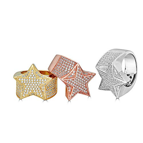 Harlembling Solid 925 Sterling Silver Men's Star Ring Iced Out - Pinky Ring - Yellow, Rose, Or Natural Silver - ICY Hip Hop Ring (Sterling-Silver, 10)