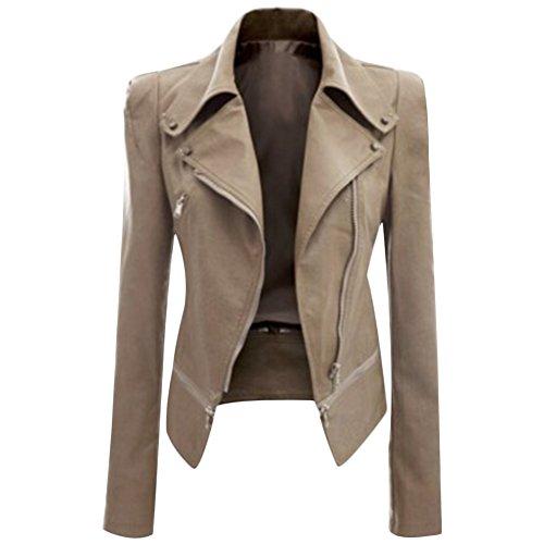 CHICFOR Women's Faux Leather Biker Motorbike Jacket Zipper PU Blazer Slim Fit Short Coat (XXL, Apricot)