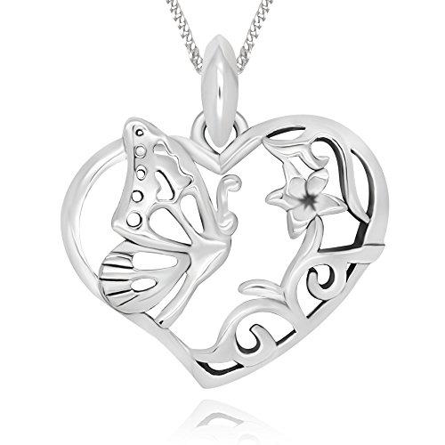 925 Sterling Silver Filigree Flower Butterfly Heart Pendant Necklace, 18