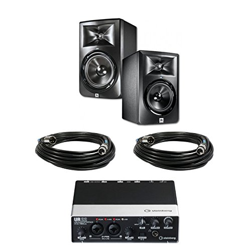 JBL LSR305 5-inch Two-Way Powered Studio Monitors (PAIR) w/ Steinberg UR22 Audio Interface + (2) XLR Cables