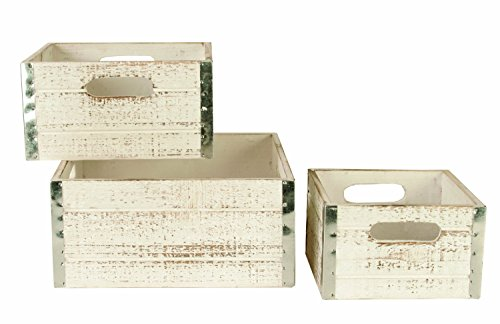 Wald Imports Whitewash Wood  Decorative Crates, Set of 3 (Basket White Distressed)