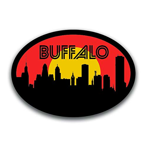 Yankees Buffalo (Buffalo New York Skyline Vinyl Decal Sticker | Cars Trucks Vans SUVs Windows Walls Cups Laptops | Full Color Printed | 5.5 Inch | KCD2572)