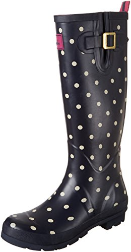 Joules Women's Welly Print Rain Boot, Navy Spot White, 8 M US