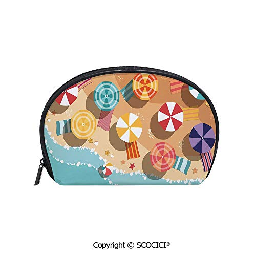 inted Cosmetic Bag Storage Bag Summertime Seacoast with Colorful Umbrellas Stars Flat Design Aerial View Vacation Makeup Bag Toiletry Pouch ()