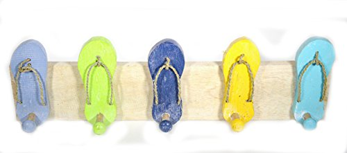 Hand Carved Colorful FLIP FLOP towels beach Hanger Holder Surfboard Wooden Wall Hanging Art Sign Tiki Bar ()