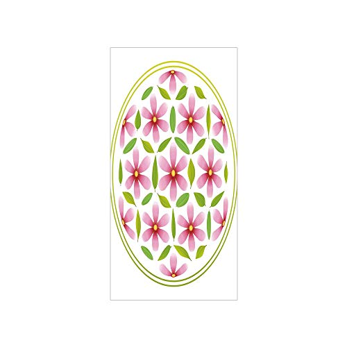 3D Decorative Film Privacy Window Film No Glue,Floral,Flower of Life with Florets and Leaves Inside Circle Cosmos Beauty Image,Light Pink Fern Green,for Home&Office