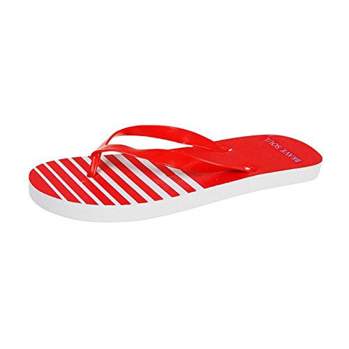 Mens Brave Soul Summer Beach Striped Casual Flip Flops Red 5XmYB