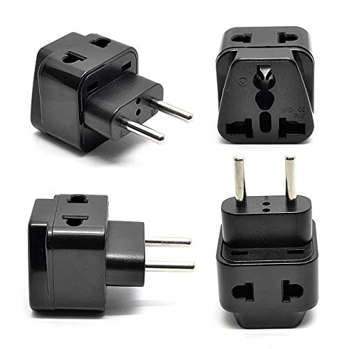 (OREI Europe Power Plug Adapter Works in Russia, Turkey, Ethiopia, Korea, Monaco and More   (Type C) - 4 Pack, Black)
