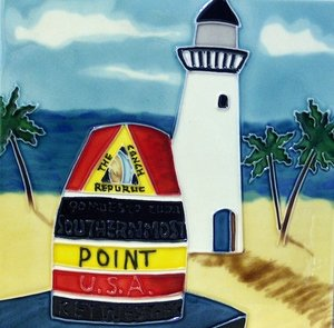 J Key West Fl Lighthouse Ceramic Wall Tile Coaster 4x4#33101 Southernmost Point USA