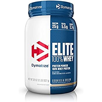 Dymatize Elite 100% Whey Protein, Cookies & Cream, 2 lbs