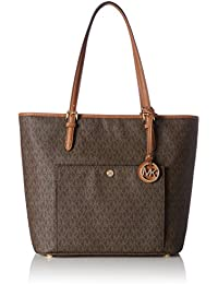 Women's Large Jet Set Snap Pocket Leather Top-Handle Bag Tote