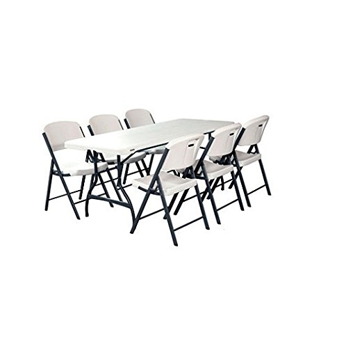 Folding Table and Chairs Set of Lifetime Combo-One, White Granite, Perfect for Indoor/Outdoor Parties