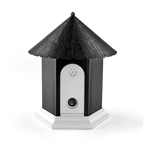 Deluxe Anti Bark Spray - Flexzion Ultrasonic Dog Bark Control Outdoor Pet Anti Bark Deterrent Stop Barking Device Bird House Box Design Waterproof for Home Garden Hanging Battery Operated