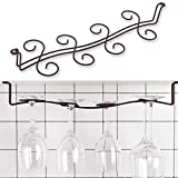 Buytra Under Cabinet Wine Glass Rack Stemware Holder for Home Bar, Holds up to 8 Glasses