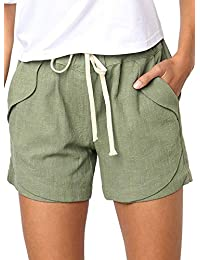 Women's Drawstring Elastic Waist Casual Solid Comfy Cotton Linen Beach Shorts