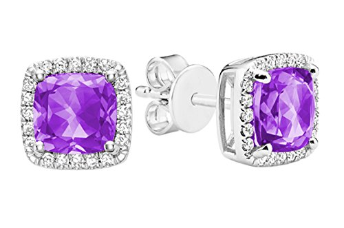 10K Gold Natural Diamond and Gemstone Earrings (0.11TDW H-I Color,I1 Clarity) push backs (amethyst) by Jewels by Erika