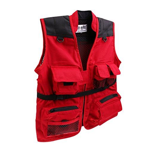 MonkeyJack Kids Outdoor Quick Dry Mesh Fly Fishing Zip Vest Multi-Pocket Sports Jacket - Red, M Kids Fly Fishing Vest