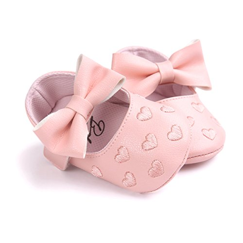 Itaar Baby Girl Moccasins Bow PU Leather Heart Embroidered Soft Soled Shoes for Infants Toddlers - Image 4