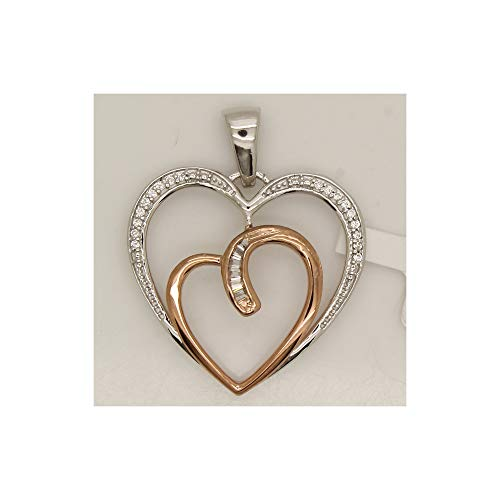 OMEGA JEWELLERY 0.10CT Round & Baguette Diamond Womens Heart Pendant in 14K Two-Tone Gold Over