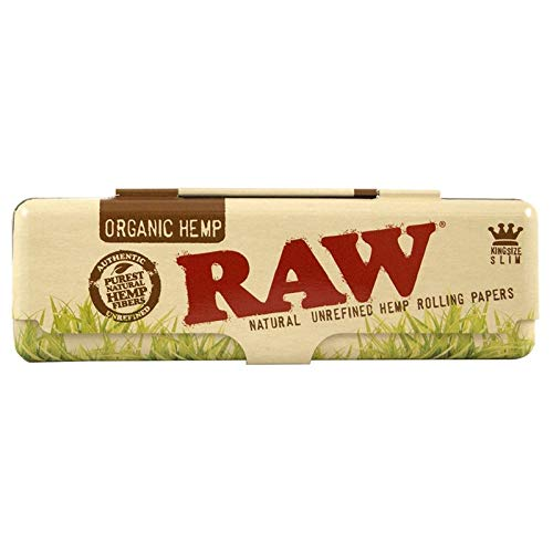 RAW Natural Rolling Papers Metal King Size Slim Booklet Tin