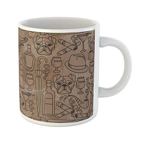 Emvency Funny Coffee Mug Masculine for Gentleman's Club 20S Alcohol American Bottle Brutal Bulldog 11 Oz Ceramic Coffee Mug Tea Cup Best Gift Or Souvenir -