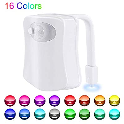 WEBSUN Toilet Night Light Motion Activated 16 Color Changing Led Toilet Seat Light 5-Stage Dimmer Motion Sensor Toilet Bowl Light